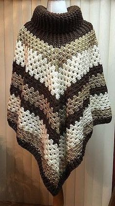Project: Cowl Neck Poncho Started: 30 Dec 2015 Completed: 01 Jan 2016 Model: Madge the Mannequin Crochet Hook(s): Cowl portion, K, Granny Stitch portion Yarn: RedHeart Super Saver Color(s): Medium Thyme, Soft White, Pattern Source: Si Crochet Poncho Patterns, Knitted Poncho, Crochet Shawl, Crochet Lace, Poncho Sweater, Granny Square Poncho, Granny Squares, Ladies Poncho, Crochet Designs