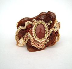 Beadwork bracelet, Beaded bracelet, beaded jewelry,  Freeform peyote bracelet, Seed bead bracelet, brown and cream via Etsy