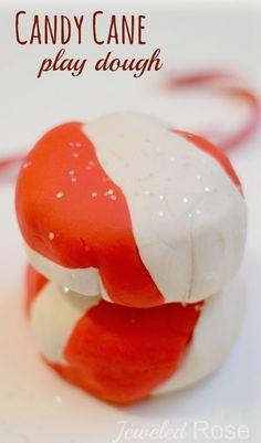 NO COOK candy cane play dough recipe
