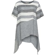 D Celli Grey / White Plus Size Asymmetric linen blend top (145 AUD) ❤ liked on Polyvore