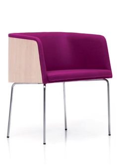 """A modern arm chair in a thin upholstery and wooden exposed back with a 16mm steel tube frame. (Also available in chrome tube frame. 4-737)  [share title=""""Share with Friends"""" socials=""""facebook, twitter, google, pinterest, bookmark"""" class="""""""" icon_type="""""""" ]"""
