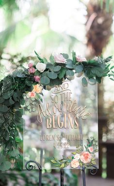 Wedding Trends Wedding Sign Clear Acrylic Welcome Sign Personalized Names Floral Adventure Quote Design, Modern Wedding Plastic Glass Look (Item - - This clear acrylic glass look wedding sign features a full color design in a pretty Boho Wedding Decorations, Wedding Themes, Wedding Tips, Diy Wedding, Wedding Planning, Dream Wedding, Wedding Day, Wedding Details, Wedding Quotes