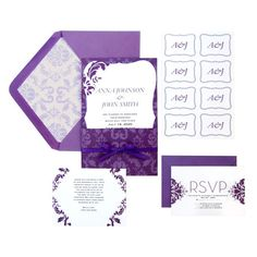 <div>This regal invitation suite has white card stock with a purple damask pattern. The kit make...