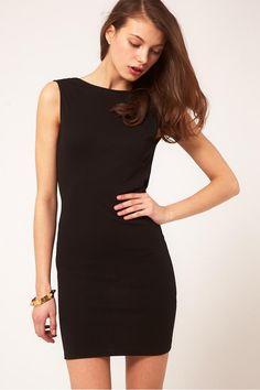 Elegant Black Sheath/Column Backless Short/Mini Chiffon Cocktail Dresses - Susanbridal.com