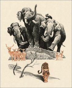 Rudyard Kipling's The Jungle Book. Beautiful illustration by Sergey Artyushenko (1986).