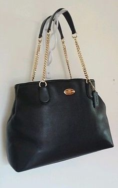 NEW COACH Chain Pebble Leather Shoulder Bag Gold/Black (F34619)