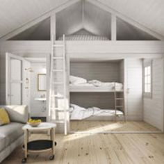Nyby - Baseco Tiny House Cabin, Tiny House Living, Tiny House Plans, Brick House Designs, Cool House Designs, Mezzanine Bedroom, Bedroom Loft, Style At Home, Bunk Beds Built In