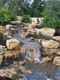 Backyard landscaping hillside water features 44 New Ideas Backyard Stream, Backyard Water Feature, Ponds Backyard, Backyard Waterfalls, Water Falls Backyard, Large Backyard, Water Falls Garden, Backyard Ideas, Nice Backyard
