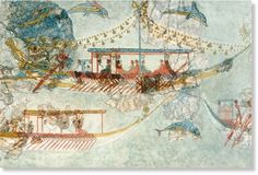 The Minoans were pioneers in long-distance ocean travel, as seen in this sixteenth-century BC wall mural from the Greek island of Santorini, which depicts Minoan ships.