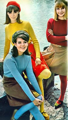 """1970s Skinny Ribs and Skirts   (these were called """"poor boy sweaters"""")"""