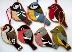 Sewn bird ornaments, If I was home all day, and crafty, I would so make these.