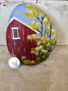 Red barn in Autumn on rock by TheVintageTortoiseUS on Etsy