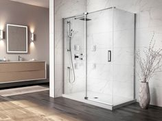 This elegant bathroom is filled with luxurious materials. It's showcasing the Distink shower doors system offered by Kalia which is both sophisticated and practical. Marble Showers, 3d Studio, Shower Doors, 3d Design, Bathrooms, Elegant, Luxury, Inspiration, Home