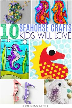 The absolute cutest and coolest seahorse crafts for kids with seahorse craft ideas for preschool as well as ones that are suitable for much older kids too - paper plates, suncatchers, weaving and loads more fun inspiration. Art And Craft Videos, Arts And Crafts, Paper Crafts, Camping Activities For Kids, Craft Activities, Summer Activities, Ocean Activities, Kids Camp, Budget Crafts