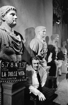 "Federico Fellini on the set of ""La Dolce Vita"" 1960"