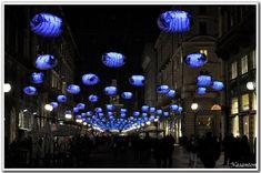 Via Dante by night - Milan, Italy