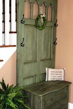 Furniture Repurpose DIY Hall Tree . I seriously love this, color and all!