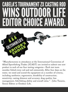 The Tournament ZX Casting Rod has won the outdoor Life Editor Choice Award - and we couldn't be more proud.