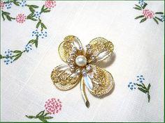 BSK Flower Pin Four Leaf Vintage Brooch Goldtone by timmaryjewelry, $10.00