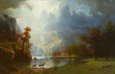 "Albert Bierstadt, ""Sierra Nevada Morning"" Focus on Favorites: Masterworks from the Gilcrease Collection Albert Bierstadt Paintings, Thomas Moran, Hudson River School, School Painting, Nature Artwork, Matte Painting, Paintings I Love, Western Art, American Artists"