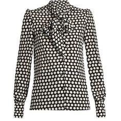 Saint Laurent Pussybow-neck silk crepe de Chine blouse