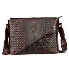 New Men's fashion Wax oil Genuine leather First laye  Cowhide Crocodile pattern Business Briefcase Messenger Shoulder Bag #Affiliate