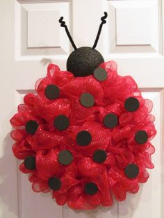 Lady Bug Deco Mesh Wreath via Etsy very beautiful this is one she made from jack. Lady Bug Deco Me Wreath Crafts, Diy Wreath, Diy Crafts, Wreath Ideas, Santa Wreath, Holiday Wreaths, Holiday Crafts, Ladybug Party, Ladybug Crafts