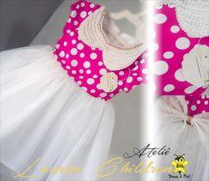 Vestido Minnie Rosa GOLA EM PEROLA
