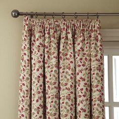 iLiv Clarice Leaf Pencil Pleat Curtains - Cherry