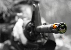 Looking down the barrel of a gun.