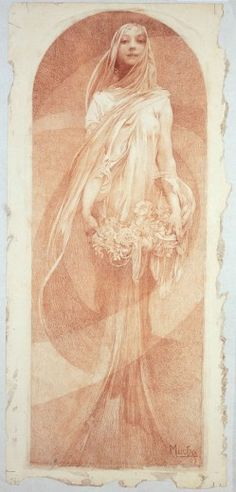 """L'Annee Qui Vient (1897) This chalk drawing was made in 1897 for a calendar planned for the year 1898. There are no records on the company who commissioned the calendar and no trace of a finalised printed edition. Nevertheless, Mucha's drawing itself became a great success. The calendar part of the design was removed and it was sold as a decorative panel in 1898 under the title """"Evocation""""."""