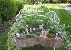 Fairy Garden In An Old Bench