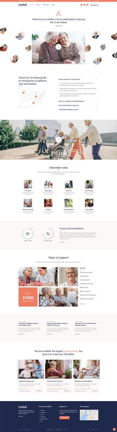 hotel website LiveWell WordPress theme will help you build a website for senior care in no time. Hotel Website Templates, Simple Wordpress Themes, Home Websites, Layout, Web Design Trends, Building A Website, Hospice, Website Themes, Modern