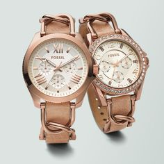 Make Me Blush. Rosy metallics and neutral leather straps. #Fossilstyle