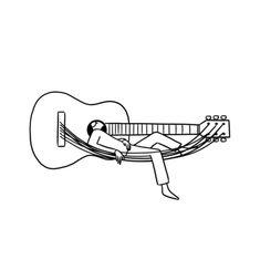 A guitarist's perfect siesta Music Drawings, Art Drawings Sketches, Easy Drawings, Guitar Drawing, Guitar Doodle, Minimalist Drawing, Music Illustration, Grafik Design, Art Sketchbook