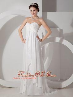 Popular Maternity Wedding Dress Empire Sweetheart Chiffon Appliques and Ruch Brush Train        Item Code: MLXN080801FOS