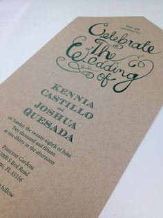 Kraft & Emerald Invitations