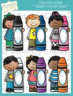 The Kids with Crayons clip art set contains 31 image files, which includes 20 color images and 11 black & white images in png and jpg. All images are 300dpi for better scaling and printing.