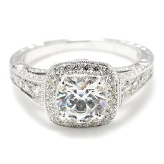 take a look at that band! Greenwich Jewelers | Beverley K Regal Bead Set Diamond Engagement Ring