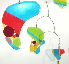 Large Colorful Glass Mobile by LeahPellegrini.etsy $610