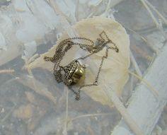 Vintage Acorn Necklace Acorn Opens Up Excellent Quality Over the Head Chain Adorable Vintage Acorn Beauty PLUS a Bonus :)