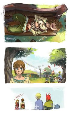 Nap time!, Zelda and Link, The Legend of Zelda: Skyward Sword artwork by AldeRion-Al.