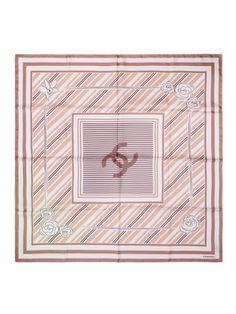 "Camellia Stripe Silk Scarf 34.6"" x 33.8"""