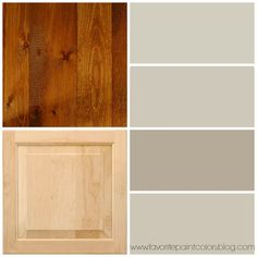 greige paint colors to go with wood trim and cabinets. From top to bottom the paint colors are Agreeable Gray by Sherwin-Williams, Sharkey Gray by Martha Stewart, Pismo Dunes by Benjamin Moore, and Revere Pewter by Benjamin Moore.