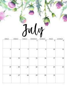 Printable July 2020 Calendar.2020 Free Printable Calendar Floral Free Printable