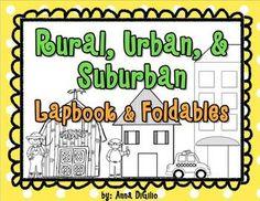 Rural, Urban, & Suburban - Communities Lapbook & Foldables - love this for communities
