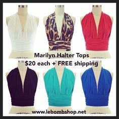 6 colors, classic style, Marilyn Halter Pinup Top... $20 with free shipping to US.  Buy one here at Le Bomb Shop: http://lebombshop.net/search?type=product&q=marilyn+halter+top&search-button.x=0&search-button.y=0