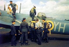 RAF flight crew disembarking, after a mission against German shipping along the Dutch coast - 21st Squadron RAF, Watton, East Anglia, England - 18 August 1941