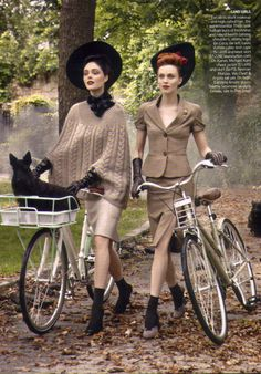 ♂  Classy fashionable bicycle riders, lady dress up.