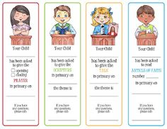 Primary opening exercises assignment cards - Prayer, Scripture, Talk & Article of Faith